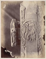 Sculpture piece excavated from the Stupa at Bharhut: pillar with monkey scene